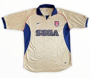 Vintage Arsenal Away Shirt Gold Sega Nike 2001-2002 Size XL