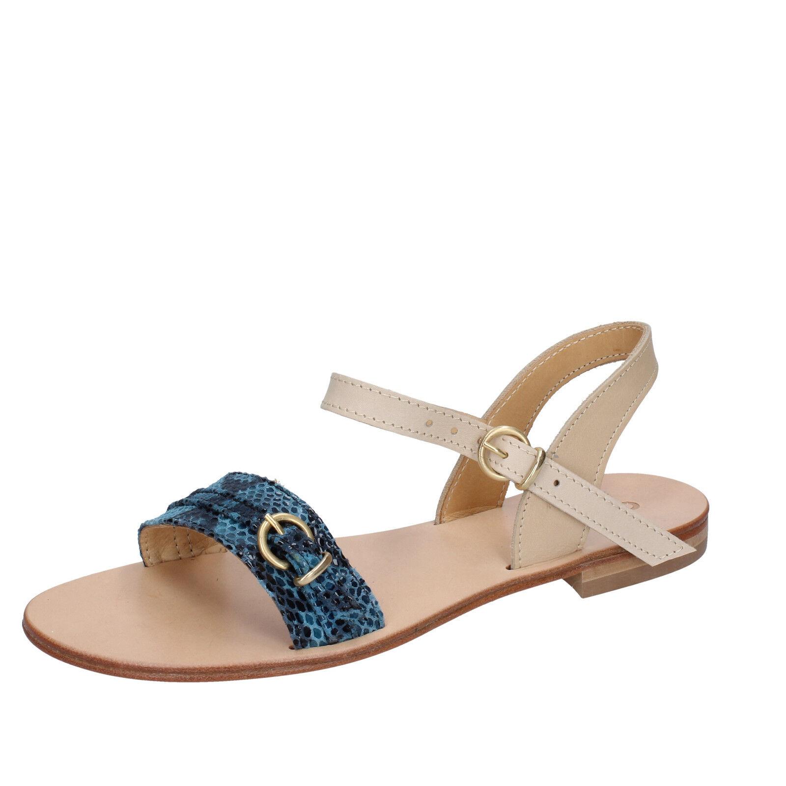 Scarpe BZ838 E donna CALPIERRE 40 sandali sandali sandali blu pelle BZ838 E Scarpe   e639cc