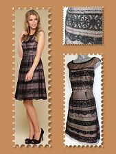 MONSOON Black Blair Lace Hem Prom Dress Beaded Button Fastening UK 12