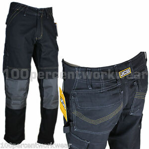 JCB-CHEADLE-PRO-Mens-Cargo-Work-Trousers-Pants-with-Knee-Pad-Pockets-Heavy-Duty
