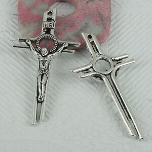 4pcs Tibetan Silver Color Crucifix Cross Pendant Ef0389 Valeur Formidable