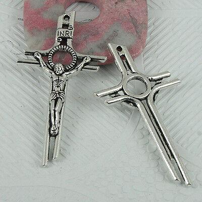 34pcs Tibetan silver little crucifix charms EF1877