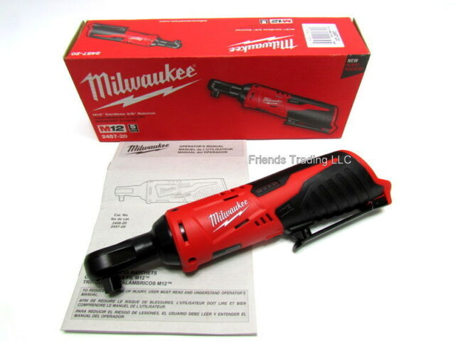"""Milwaukee M12 12V 12 Volt Lithium Ion Compact 3/8"""" Socket Ratchet Wrench 2457-20"""