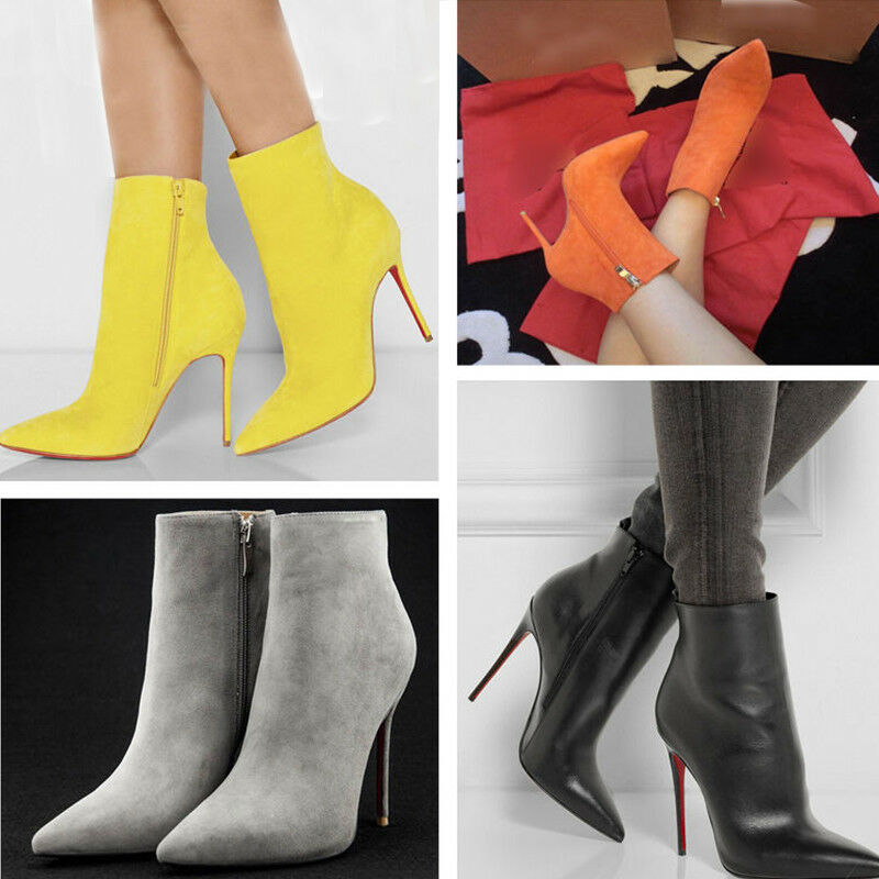 donna Pointed Toe High Heel Side Zipper Ankle stivali Party Leather Stiletto scarpe