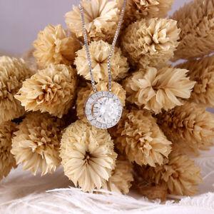 14k-White-Gold-Over-3-50ct-Round-Circle-Pendant-Diamond-18-034-Chain-Necklace
