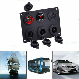 Car-Boat-RV-Marine-Rocker-Switch-Control-Panel-Dual-USB-Charger-Red-LED-12V-24V
