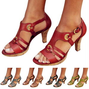 Women-Summer-High-Heels-Sandals-Caged-Strap-Ankle-Buckle-Shoes-Large-Size-sandal