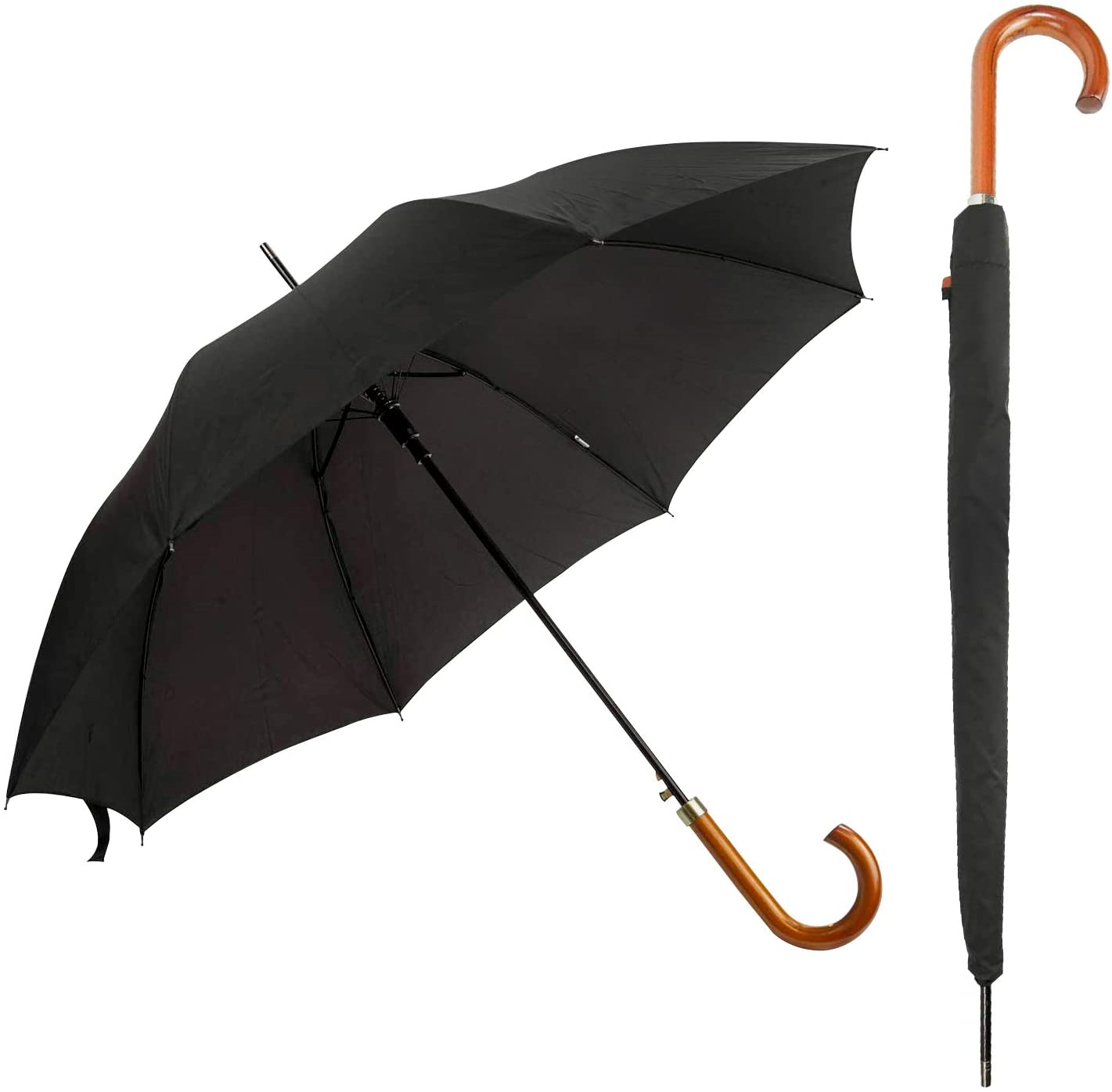 DUA Classic Gents Auto Walking Length Black Umbrella with Wood Handle, Sleeve &