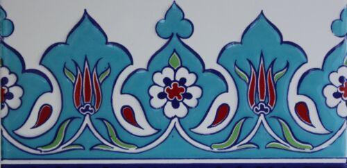 """Set of 10 Turkish Turquiose 4/""""x8/"""" Raised Iznik Ceramic Tulip /& Daisy Tile Border"""