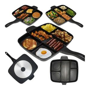 5-in-1-Fry-Pan-Divided-Grill-Fry-Oven-Meal-Skillet-Black-Fryer-Pan-Non-Stick-Pro