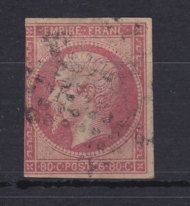 ROW117-France-1853-61-80c-Rose-red-yellowish-imperf-Napoleon-III