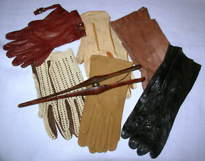 vintage-leather-gloves-womens-7-7-1-2-wood-stretcher-Aigner-Oberon-France-lot