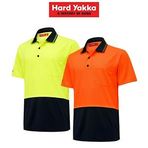 Mens-Hard-Yakka-Core-Hi-Vis-Micro-Safety-Cool-Polo-Work-Shirt-Tradie-S-S-Y19605