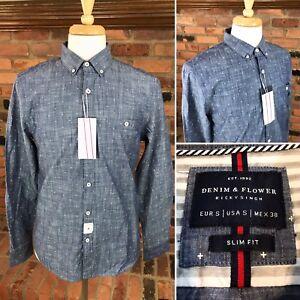 DENIM-amp-FLOWER-Chambray-Collection-Slim-Fit-Men-039-s-Shirt-L-S-Button-Down-Blue