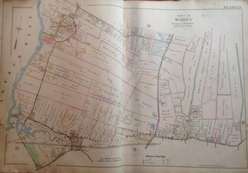 1898 STATEN ISLAND PLEASANT PLAINS E. ROBINNSON ORIGINAL ATLAS MAP 22X32