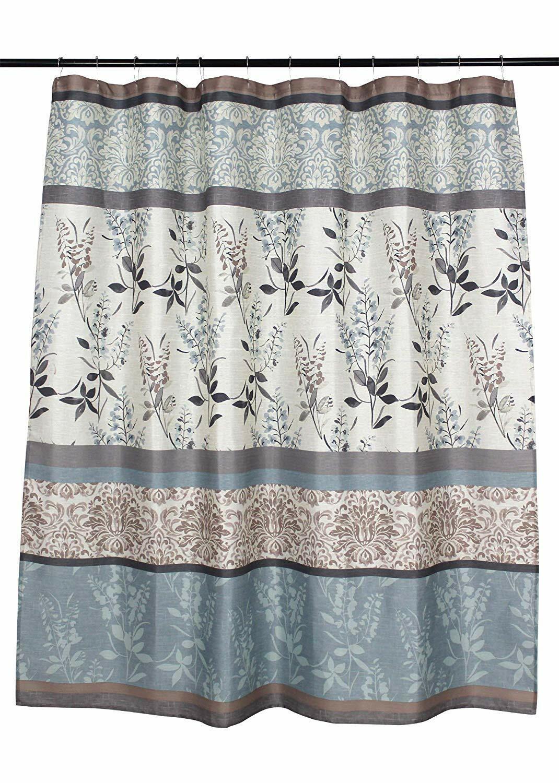 Vcny Ashley Light Blue Beige Canvas Fabric Shower Curtain Floral Nwop