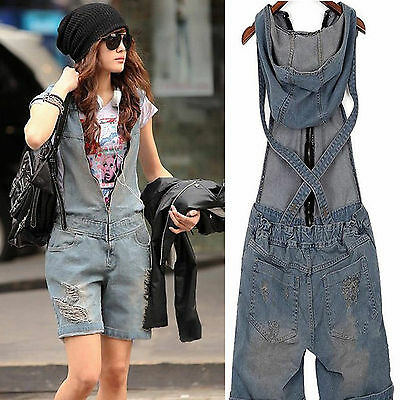 Women Vintage Washed Jeans Denim Casual Hole Short Jumpsuit Romper Overall Pants