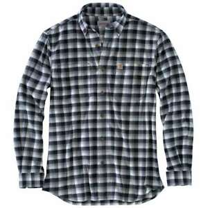 Rugged Flex Hamilton Plaid Flannel Shirt Dark Slate 433 Carhartt 103314C