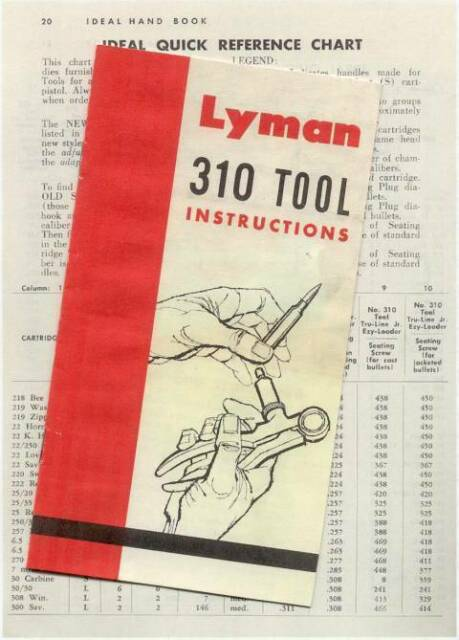 Lyman 310 Tong Tool Instructions W Die Reference Chart Reproduction