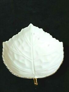 Vintage Lenox Leaf Candy Dish White w/Gold Trim Handcrafted Japan Preowned