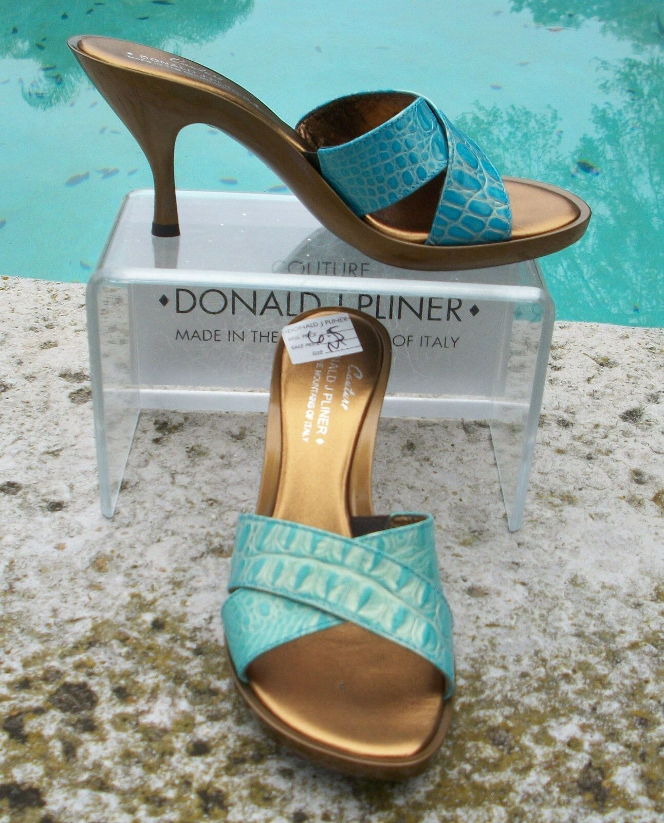 Donald Pliner Couture Metallic Gator shoes New Turquoise gold Slide 6.5  235 NIB