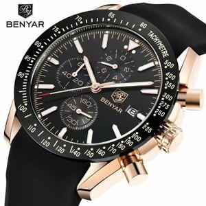 Silicone Leather Chronograph Men's Watch Luxury Quartz Watches Relojes De Hombre