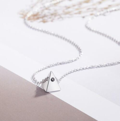 Fashion Simple 925 Sterling Silver Tiny Pyramid Solid triangle Pendant Necklace