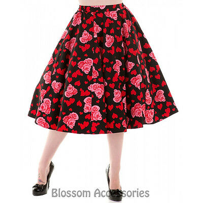 RKH66 Hearts & Roses Red Heart Floral Summer Rockabilly Skirt 50's Vintage Swing