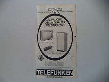 advertising Pubblicità 1963 TELEFUNKEN FRIGORIFERO/RADIO/TELEVISORE