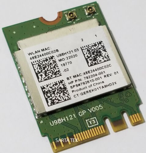 HP OEM SPS 792610-001 Realtek RTL8723BE 802.11bgn BT NGFF miniCard 792204-001