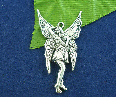 Großverkauf Antiksilbert Fee Engel Charm Anhänger für Armband Halskette 47x25mm