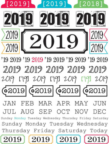 68 CLEAR STICKERS 7x9 Sheet scrapbooking YEAR MONTH DAY 2019 YEAR OF MEMORIES