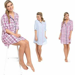 83bd82a9a32d Image is loading LADIES-BOYFRIEND-STYLE-NIGHTSHIRT-COOL-POLY-COTTON-BUTTON-
