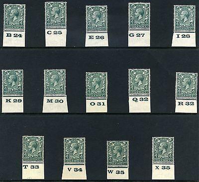 1924 KGV Block Cypher 4d Control Singles S.G. 424
