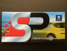 Peugeot 107 SP Accessories brochure - Genuine Sports Pack Accessories - Free p&p