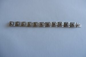 VINTAGE 900 SILVER DECORATIVE FILIGREE WORK ARTICUALTED BRACELET - C1970'S
