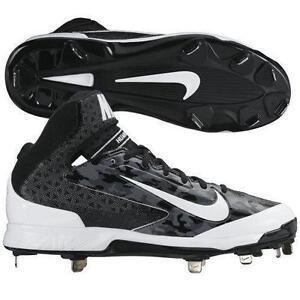 70a6e18fbeea  95 Nike Air Huarache Pro Mid Metal Baseball Cleat Black  WHITE GRAY ...