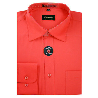 Mens Dress Shirt Plain Coral Modern Fit Wrinkle-Free Cotton Blend Amanti