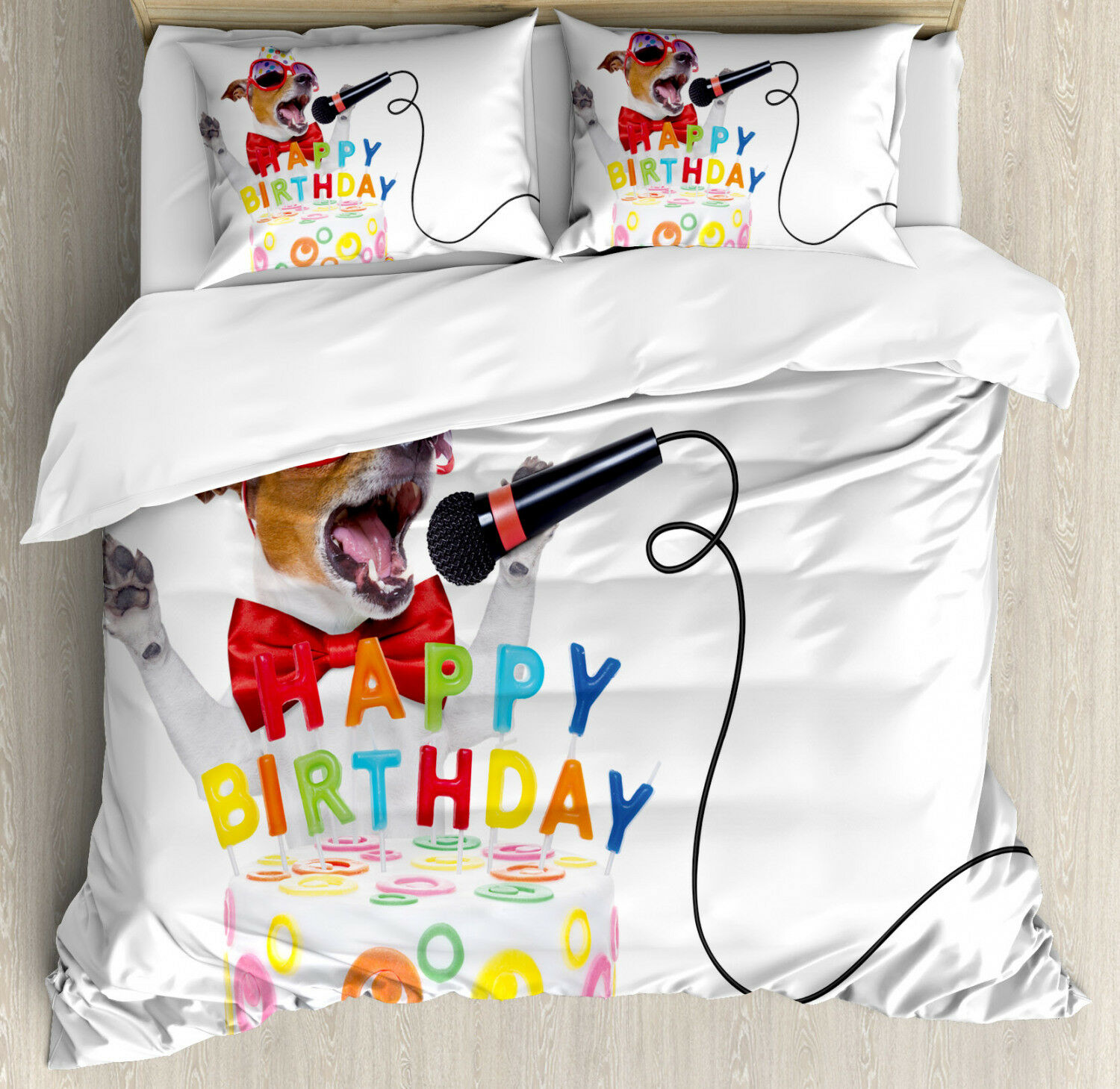colorful Duvet Cover Set with Pillow Shams Birthday Musician Dog Print