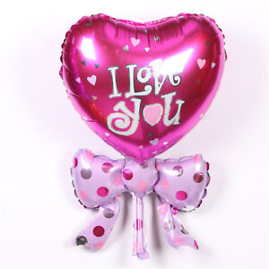 Bow-tie-Heart-I-Love-You-Balloons-Birthday-Valentine-s-day-Wedding-Party-039-Dec-iv