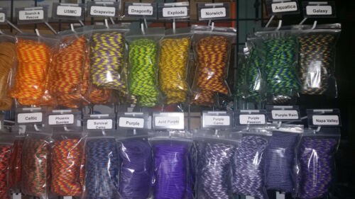 30 Color Lot of Paracord 100 Foot 550 lb 7 Strand for Camping Survival Bracelets