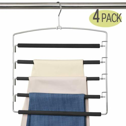 4PCS Pants Hanger 5 Layer Metal Non-Slip Foam Filled Swing Arm Space Save Clothe