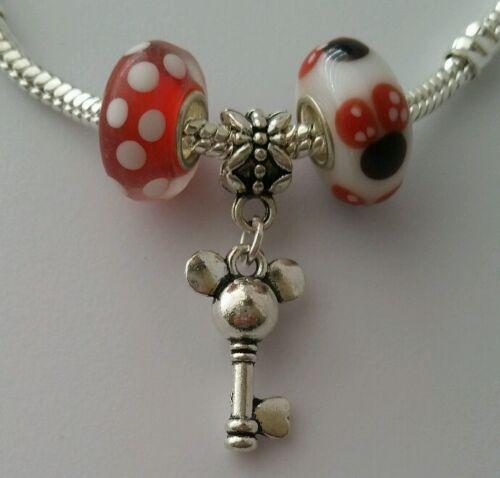 3pcs Disney Mickey Mouse Dangle Charm Bead European Murano Glass