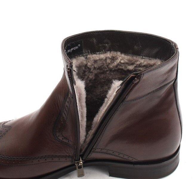 Roberto Serpentini 19108a Brown Stivali Pelle Shearling Zip-Up Ankle Stivali Brown 42 / US 9 0061e1