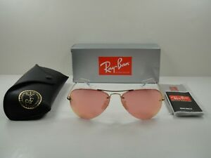 RAY-BAN AVIATOR SUNGLASSES RB3449 001/E4 GOLD FRAME/PINK MIRROR LENS 59MM