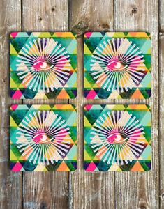 Chevrons and Tarot Eye Drink Coasters Set of 4 Non Slip Tough Neoprene