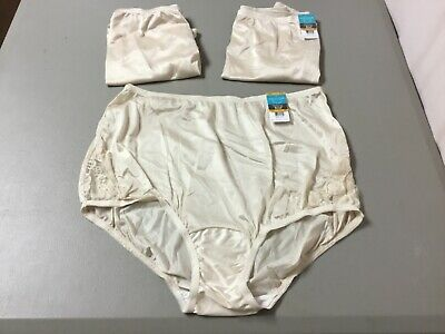 Panties Nwt Women's 3 Vanity Fair Nylon Briefs Size 7 Fawn #965l