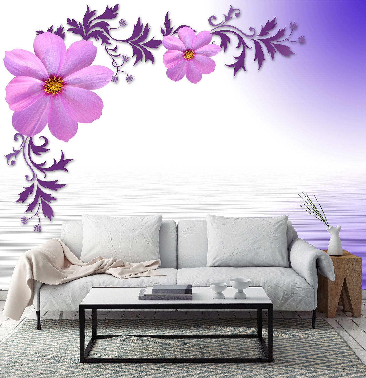 3D Lake, flowers 686 Wall Paper Print Wall Decal Deco Indoor Wall Murals