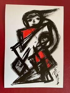 SEVARD Abstrakte Komposition Gemälde Zeichnung A4 Original Signiert Unikat N458