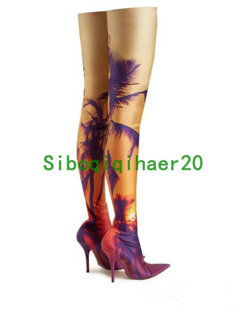 Runway Donna Pointy Toe Printed Floral Stiletto Heel Over The Knee High Stivali S